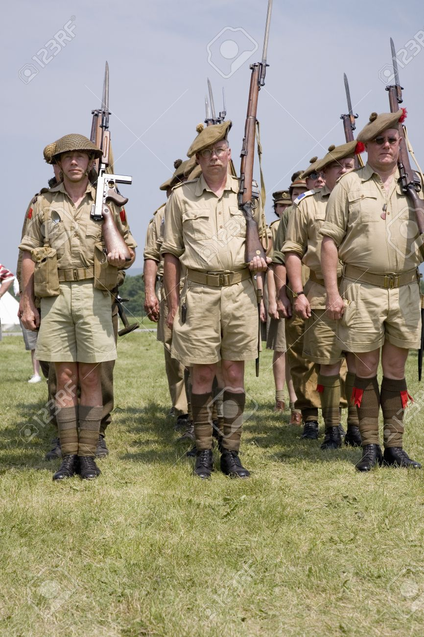 World War II reenactment of troops at attention of Great Britain