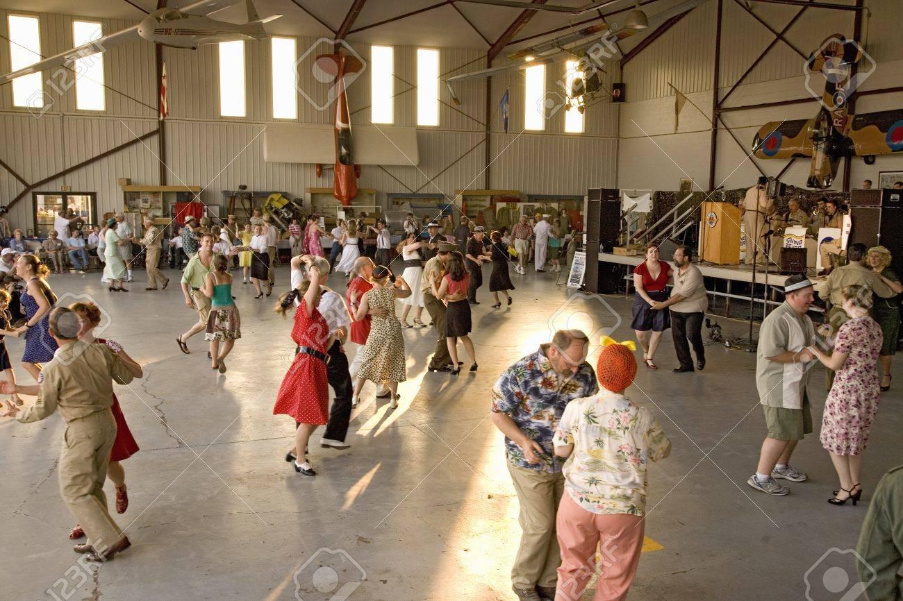 world war ii actors dance in airport hanger at mid atlantic air