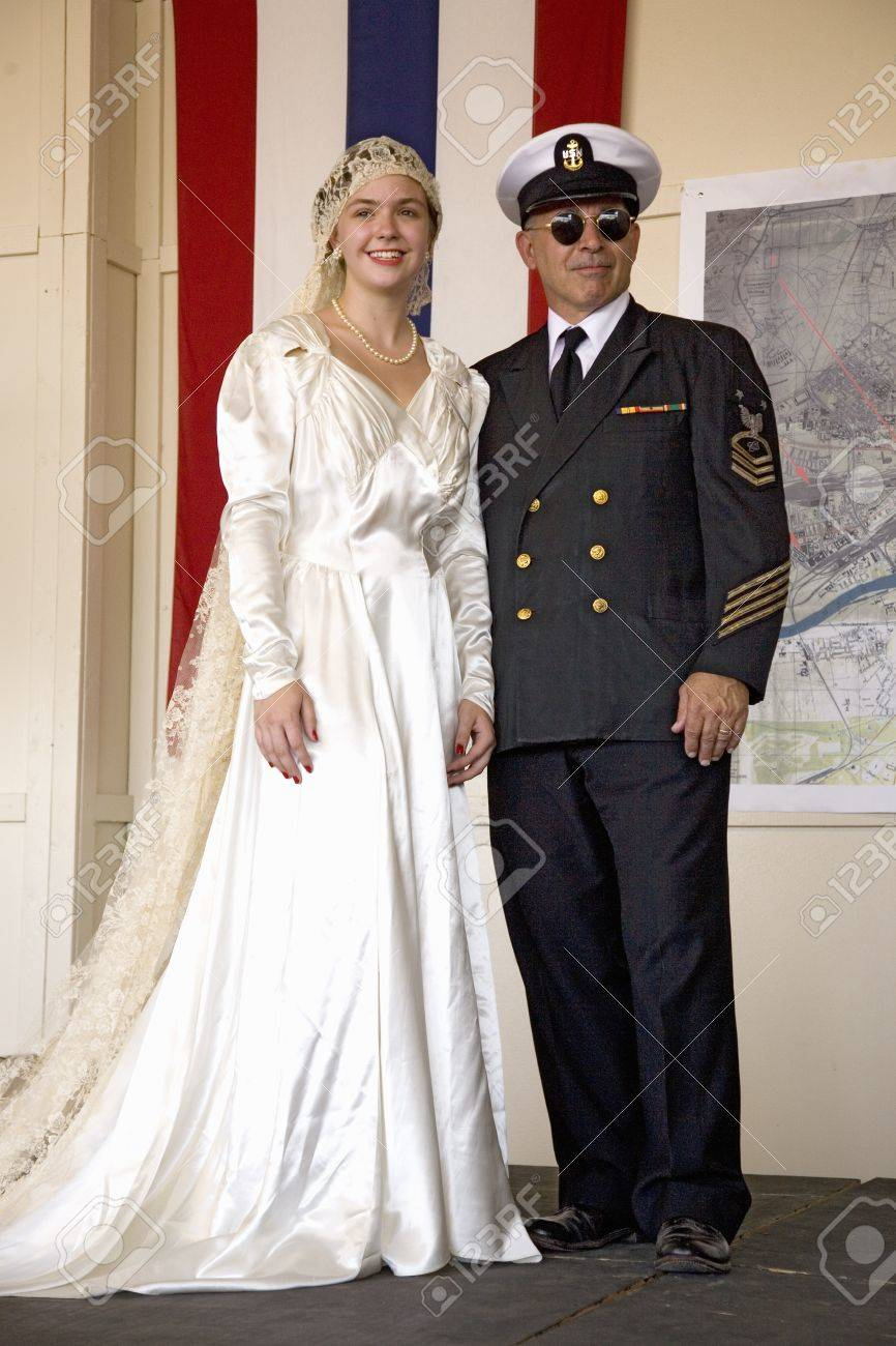Bride In 1940s Wedding Dress Posing With Her Father Dressed As