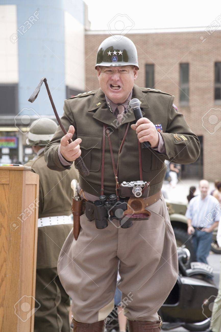 reenactment with general george smith patton jr at world war