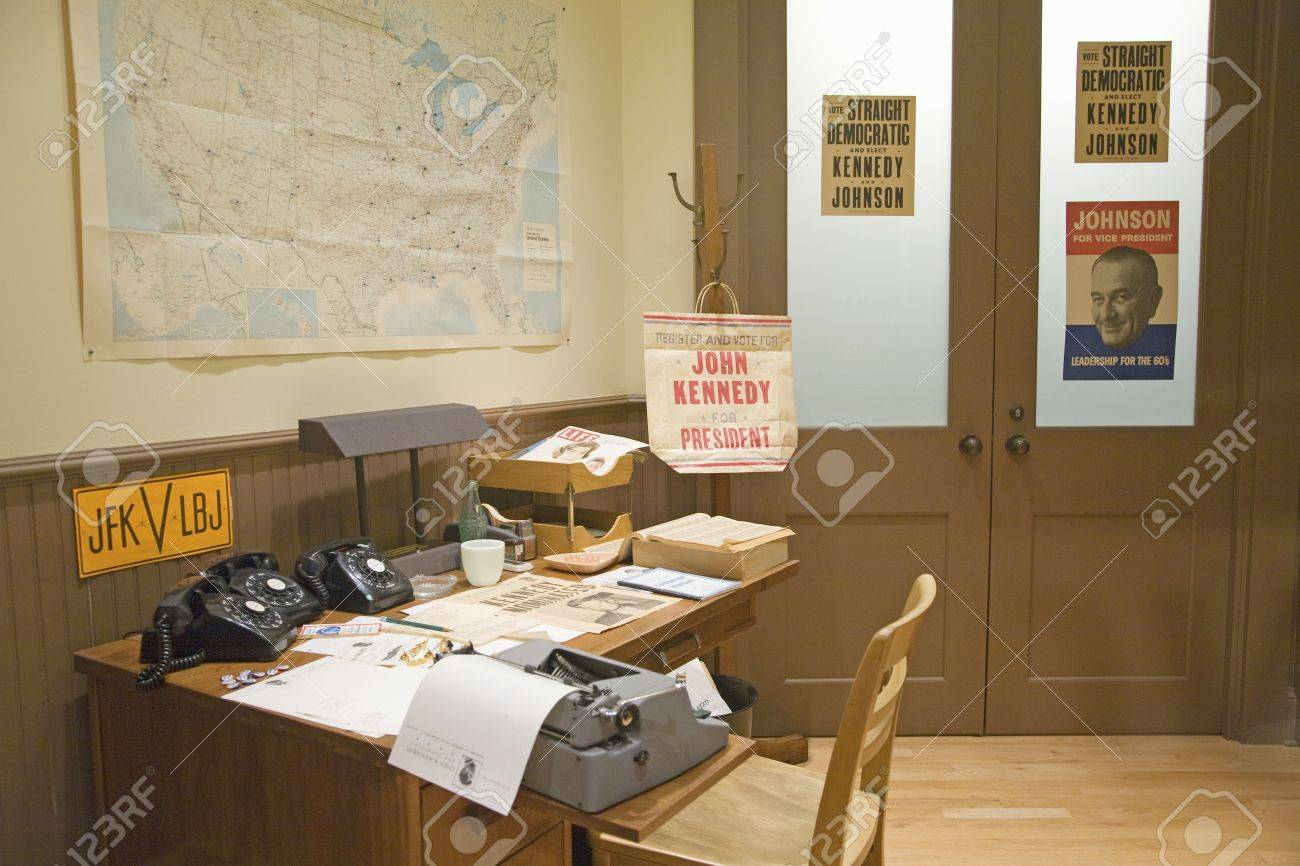 Campaign office interior setting in John F  Kennedy Presidential Library  and Museum  Boston. Campaign Office Interior Setting In John F  Kennedy Presidential