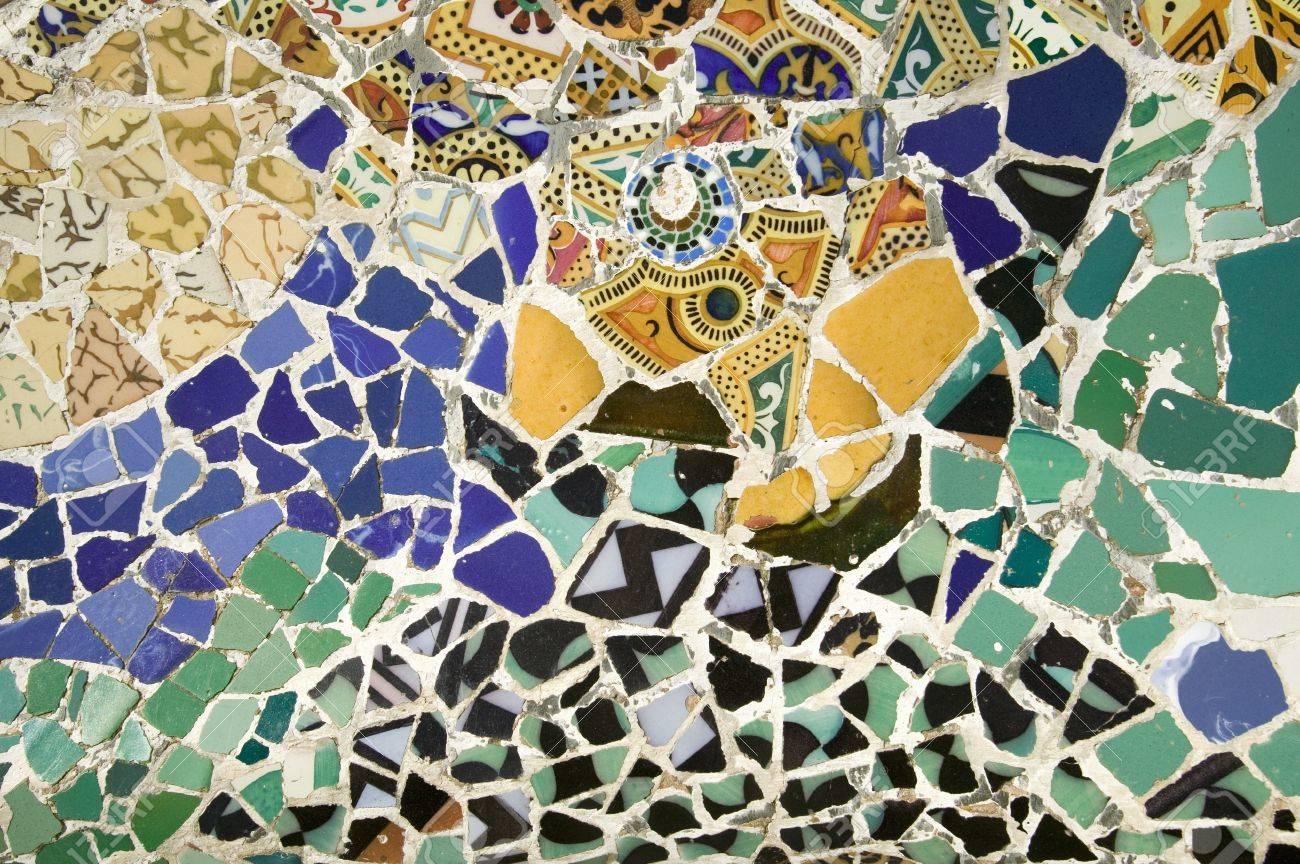 Closeup Of Mosaic Of Colored Ceramic Tile By Antoni Gaudi At.. Stock ...