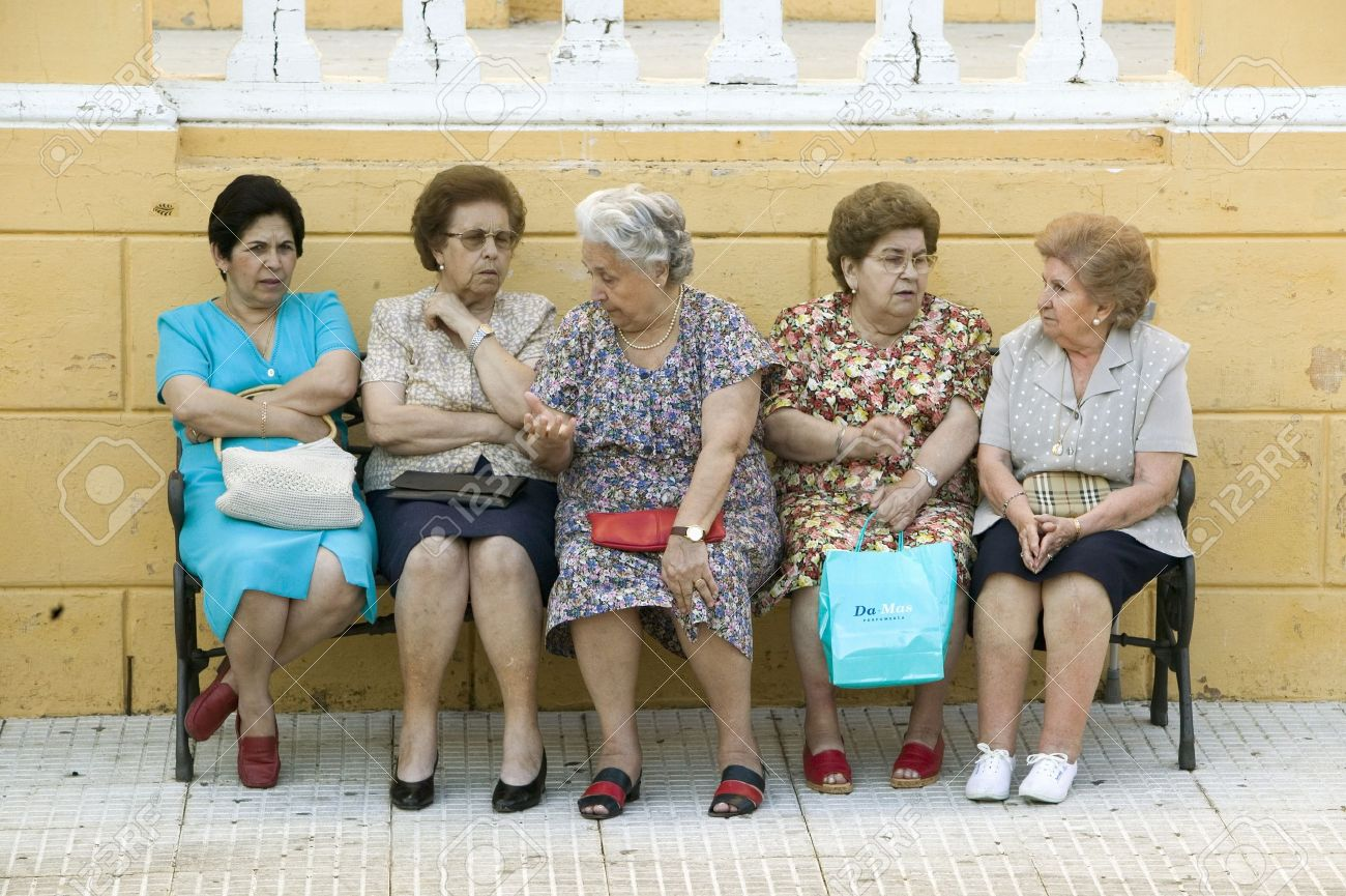 Older Women Sit On Bench In Village Of Southern Spain Off Highway Stock Photo Picture And Royalty Free Image Image 20801242