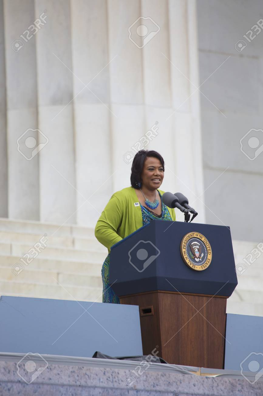 Dr. Bernice King, daughter of Martin Luther King speaks during..