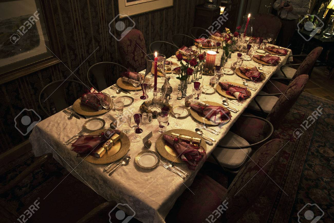 Christmas Dinner Table Setting Ojai California Usa Stock Photo