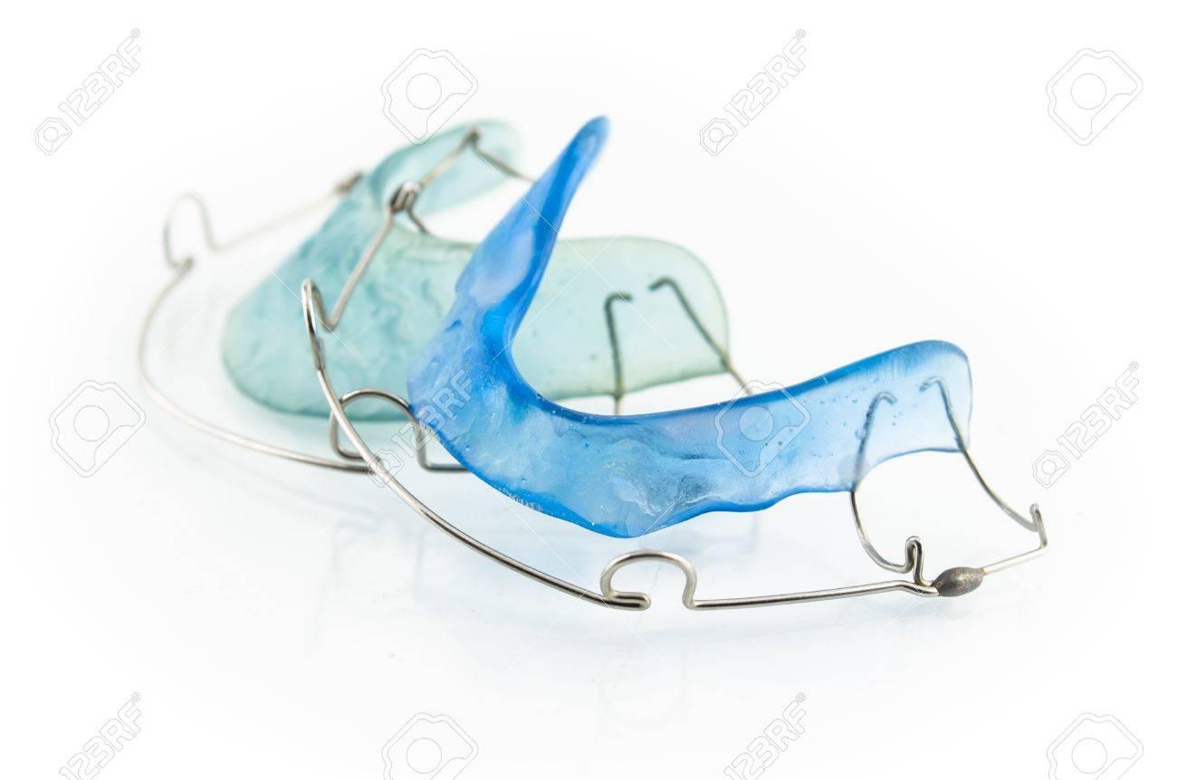 Close Up Of Blue Dental Braces Isolated On White Background Stock ...