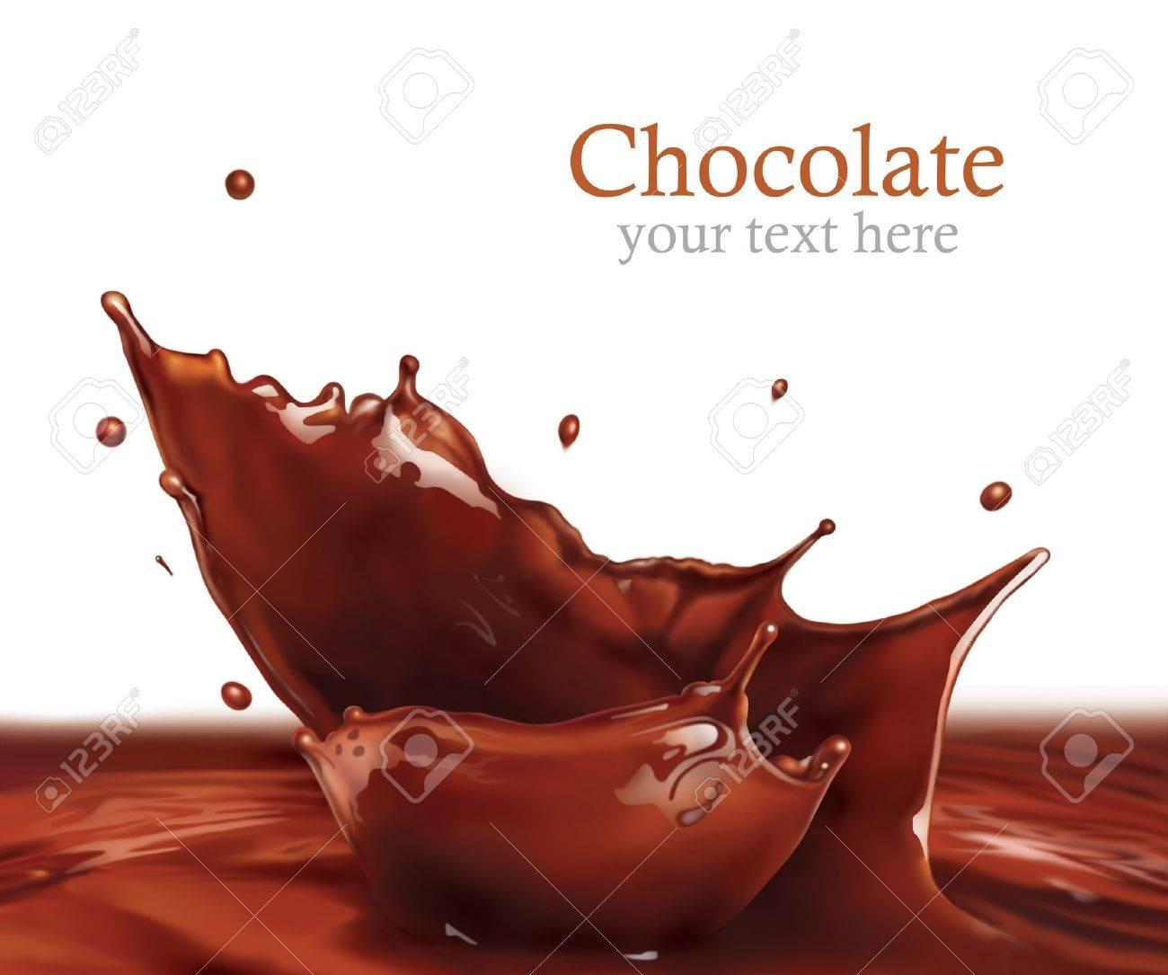 Fresh Liquid Chocolate splash making amazing Waves and Drops, Digital Painting Stock Photo - 15013513