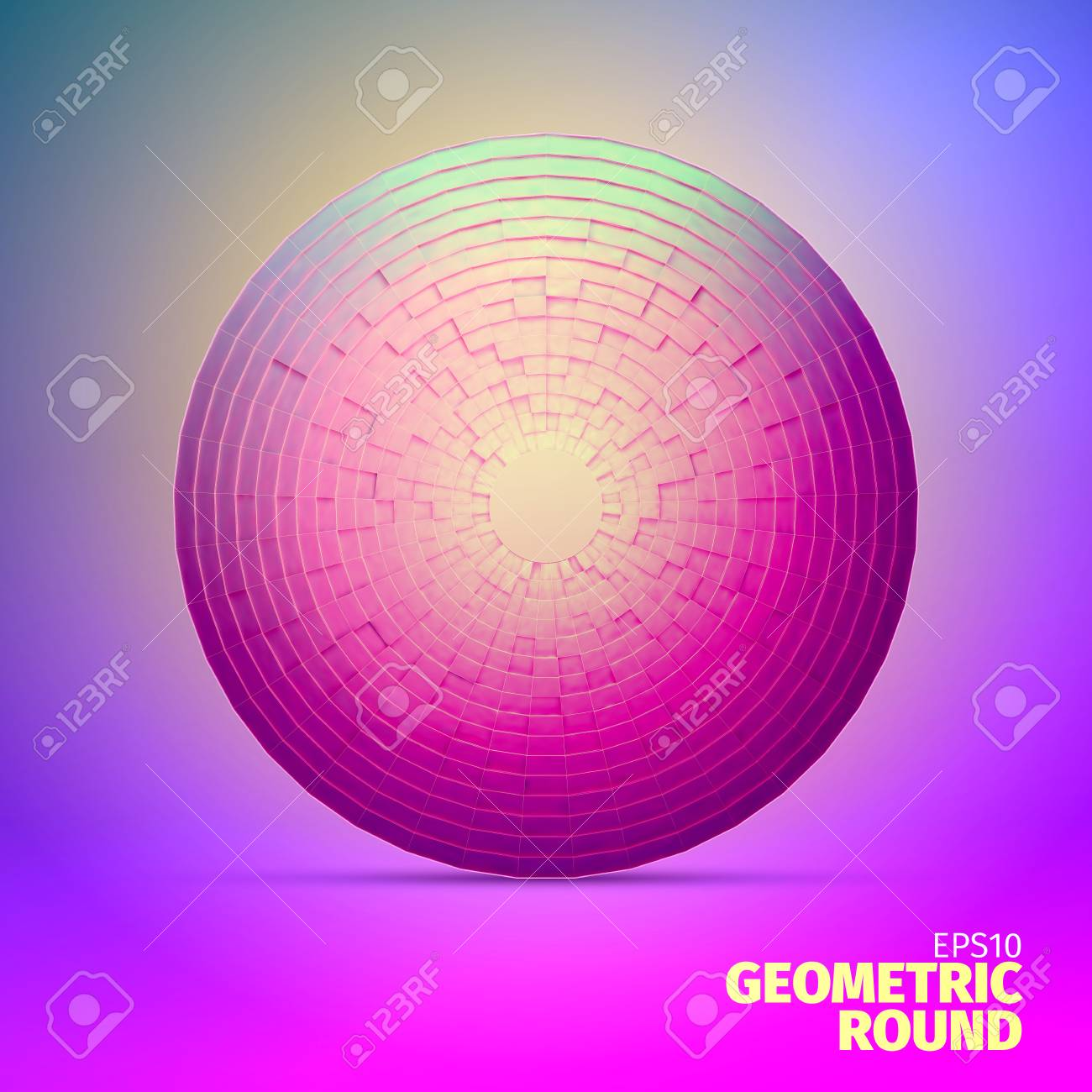 Radial vector ornament  Angular grid of 3d boxes  Block sphere