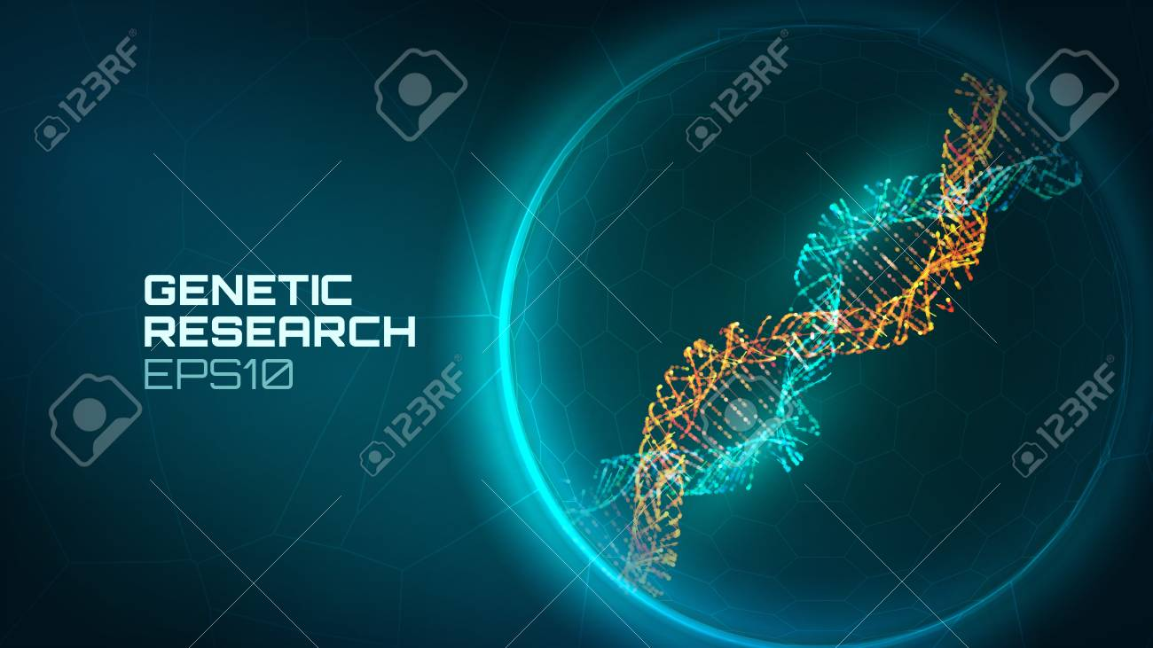 Dna helix vector background. Genetic reseacrch process. Modified gene. Science biology dna technology background - 98896519