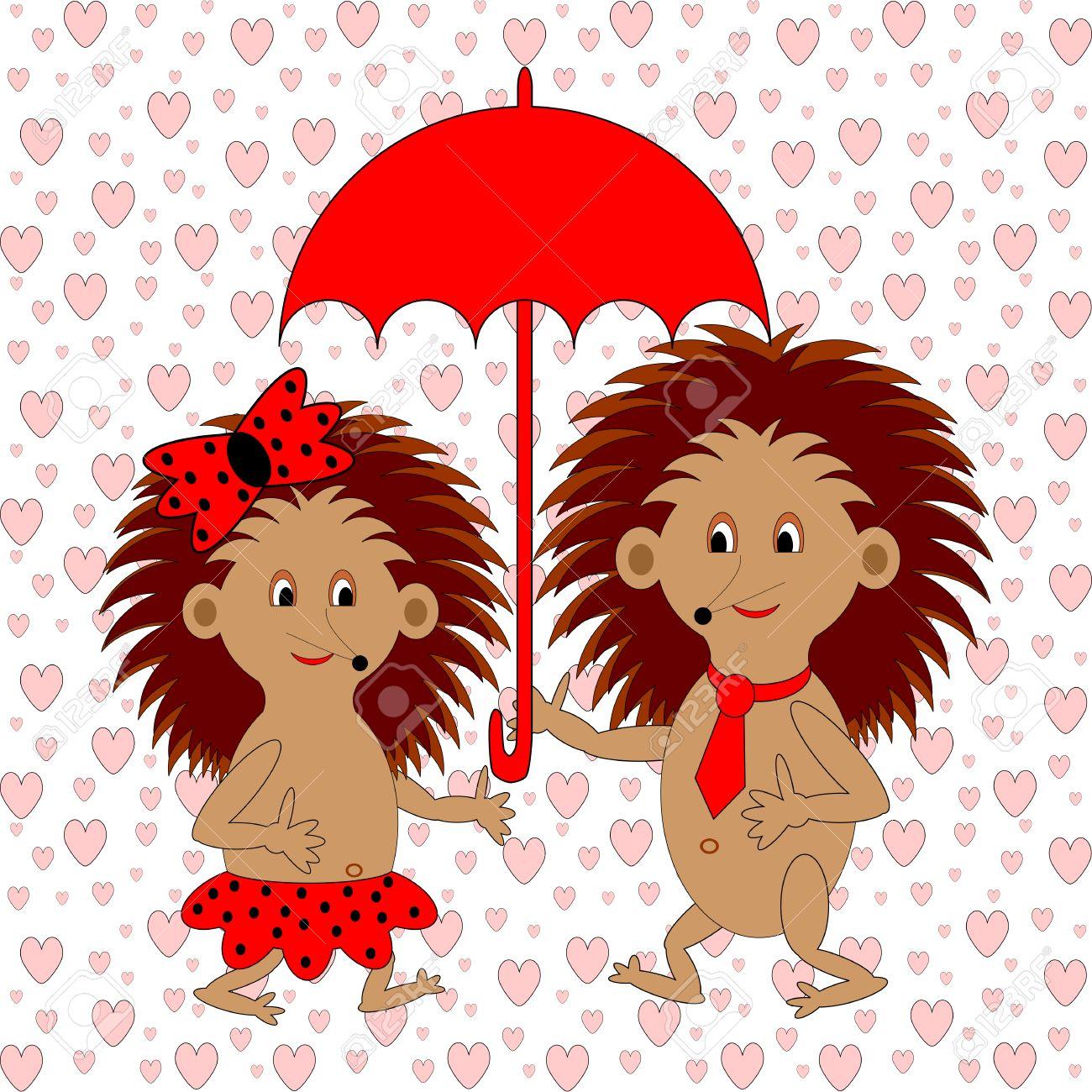 A Funny Cartoon Couple With Umbrella Under The Rain Of Hearts