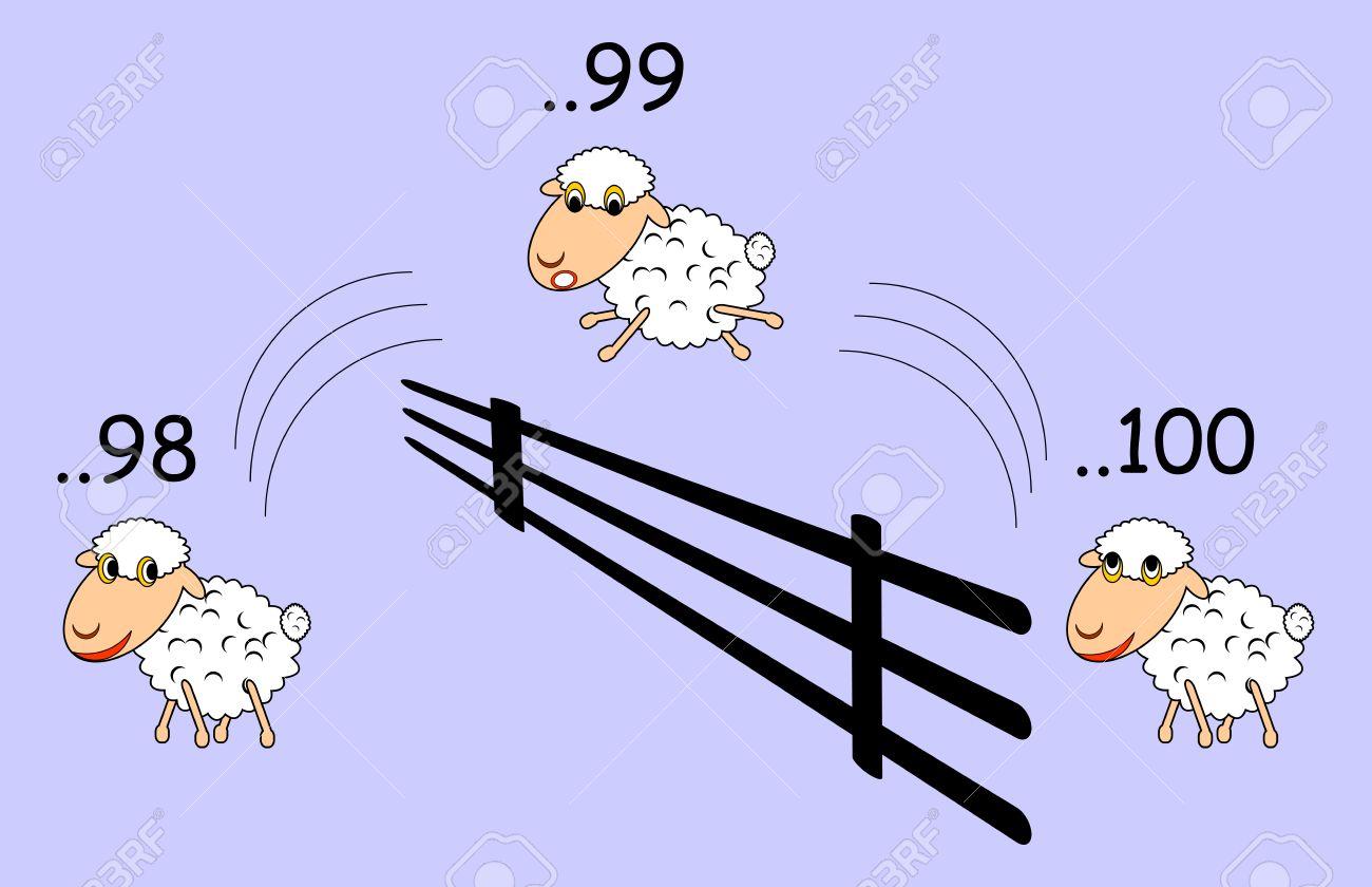 Funny Cartoon Schafe Springen Uber Den Zaun Lizenzfrei Nutzbare