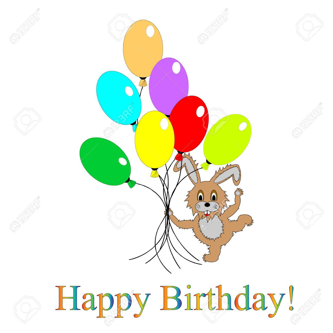 A Funny Rabbit With Many Colorful Balloons Design Birthday Card Stock Vector