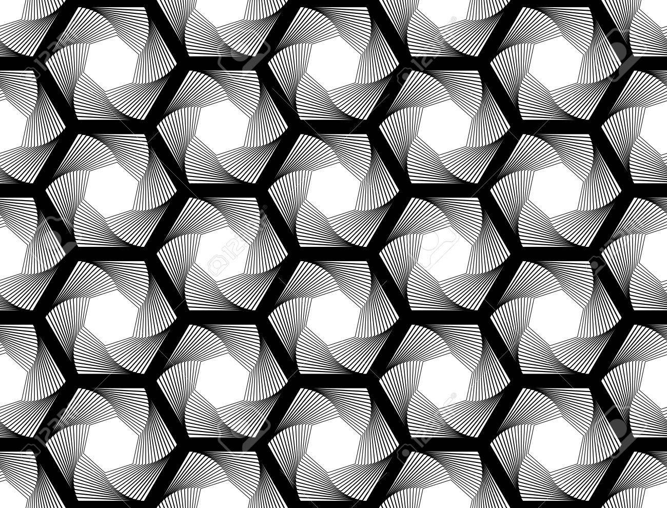 シームレスなモノクロ六角形の幾...