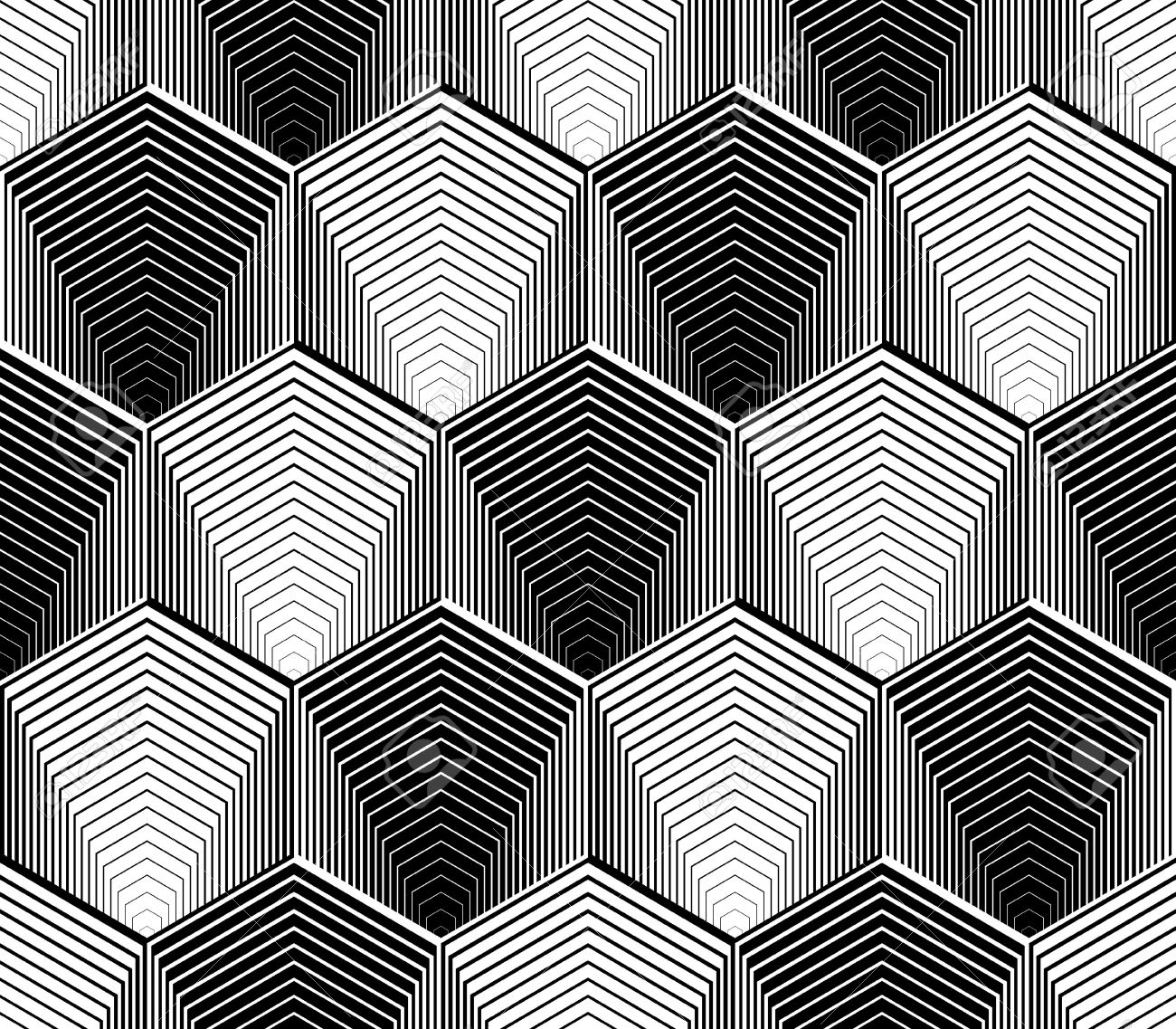 Design seamless monochrome hexagon geometric pattern abstract striped zigzag background vector art no