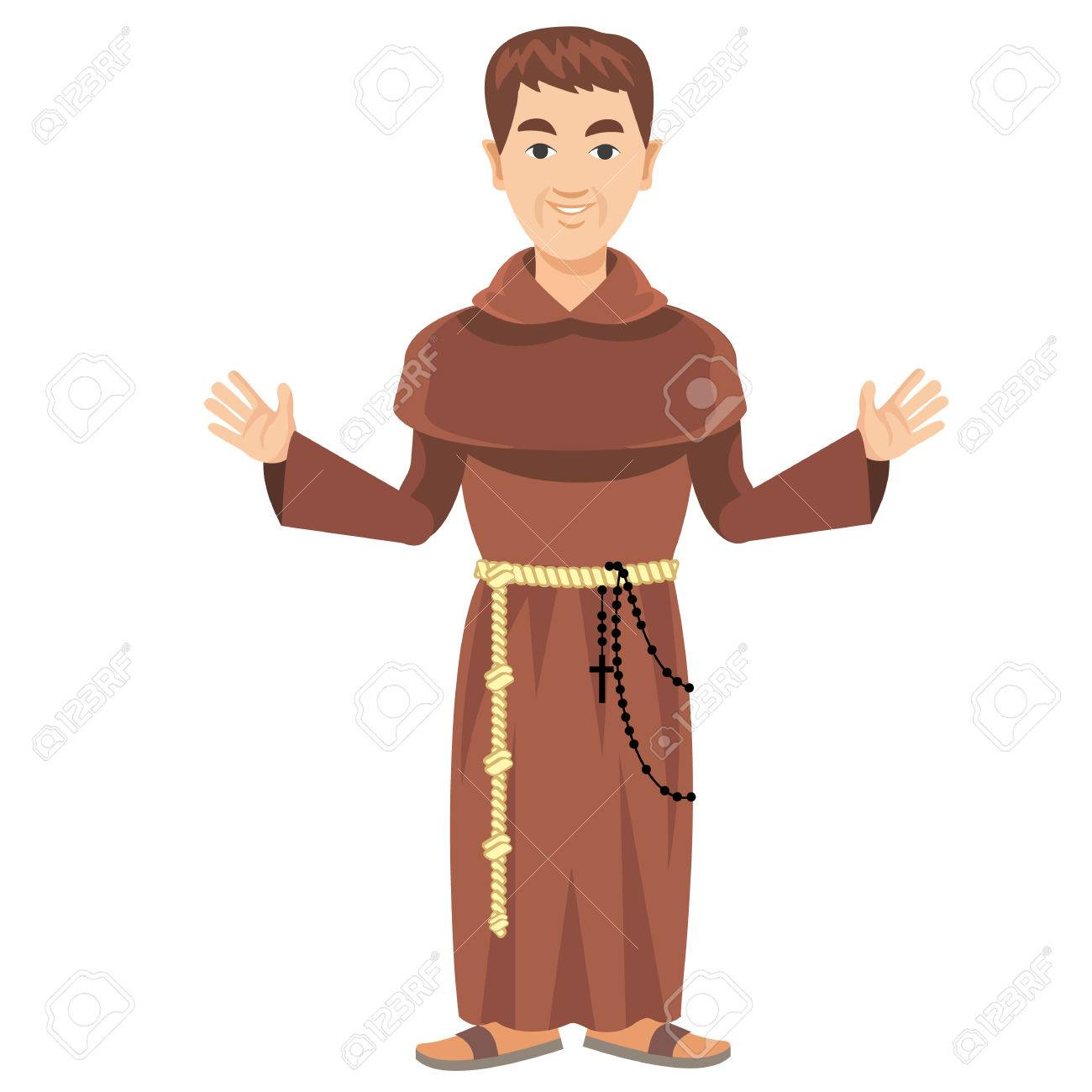 カソックとロザリオのフランシスコ会修道士のイラスト素材・ベクタ ...