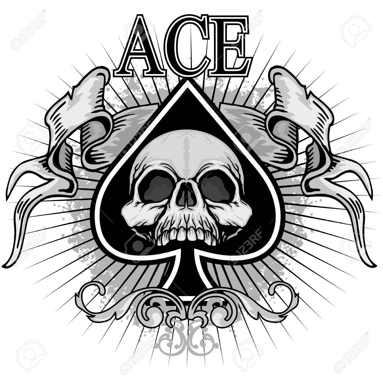 Ace of spades with skull royalty free cliparts vectors and stock ace of spades with skull stock vector 68891908 biocorpaavc Choice Image