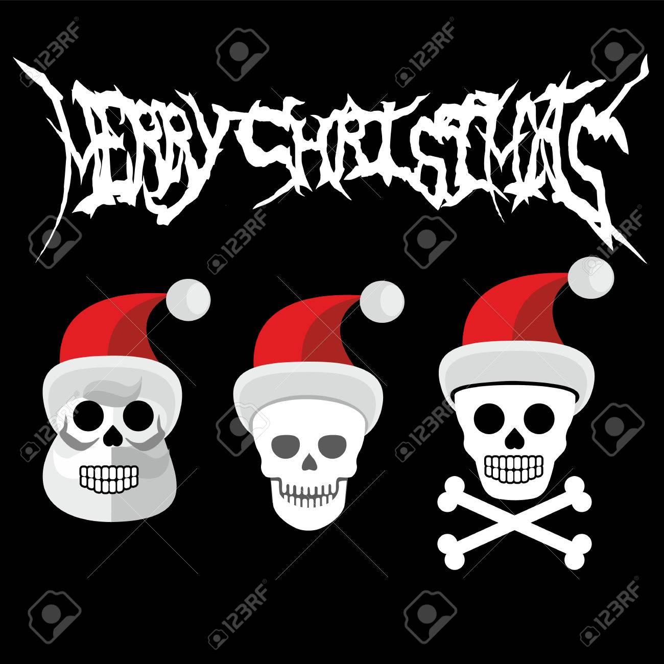 Weihnachten Schädel-Grunge. Vintage Design T-shirts Lizenzfrei ...