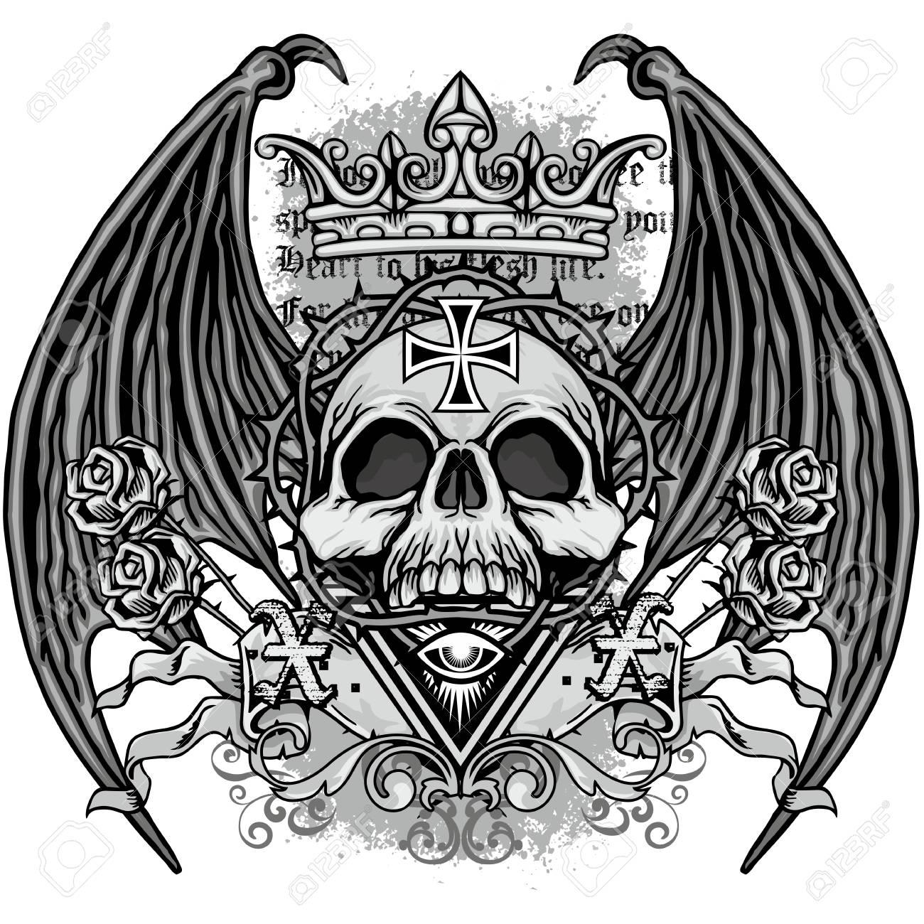 grunge skull coat of arms - 69010719