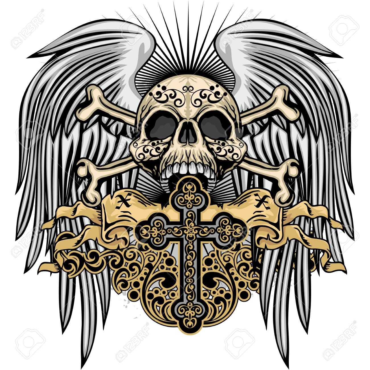 Escudo Gótico De Armas Con Calavera Ilustraciones Vectoriales Clip