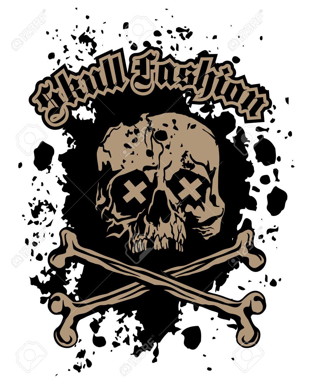 Gothic sign with skull, grunge vintage design t shirts - 169302438