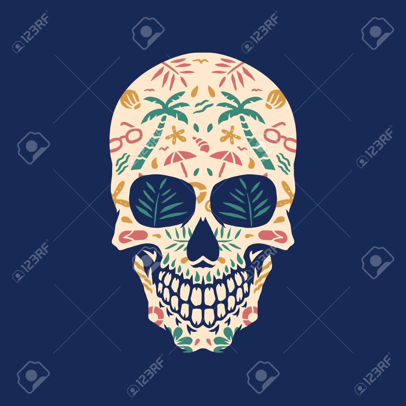 Beach skull, vector illustration - 136594597