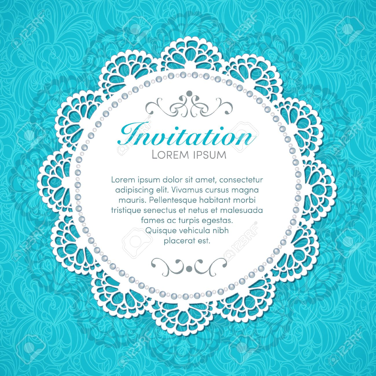 Vintage invitation card  Hand made decor on seamless lace background Stock Vector - 25198668