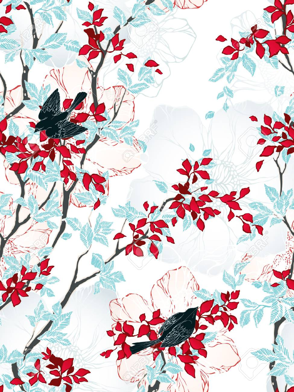 seamless pattern with trees, flowers and birds. vintage wallpaper