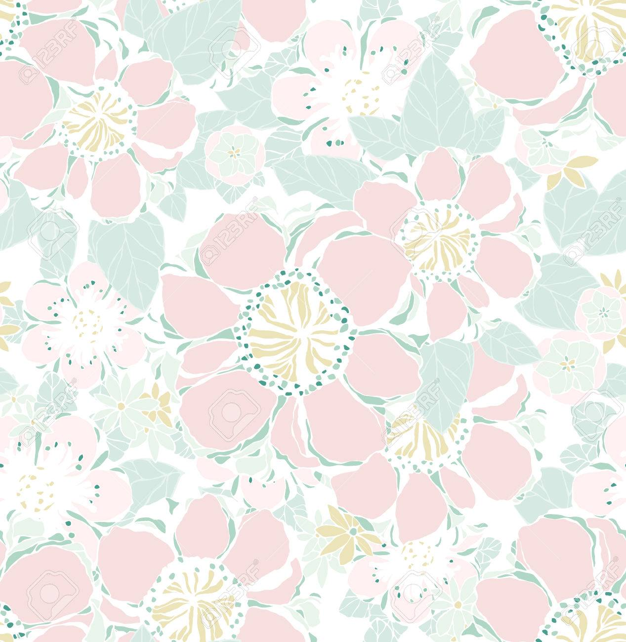 Seamless Avec Des Fleurs Decoratives Papier Peint Vintage Vector