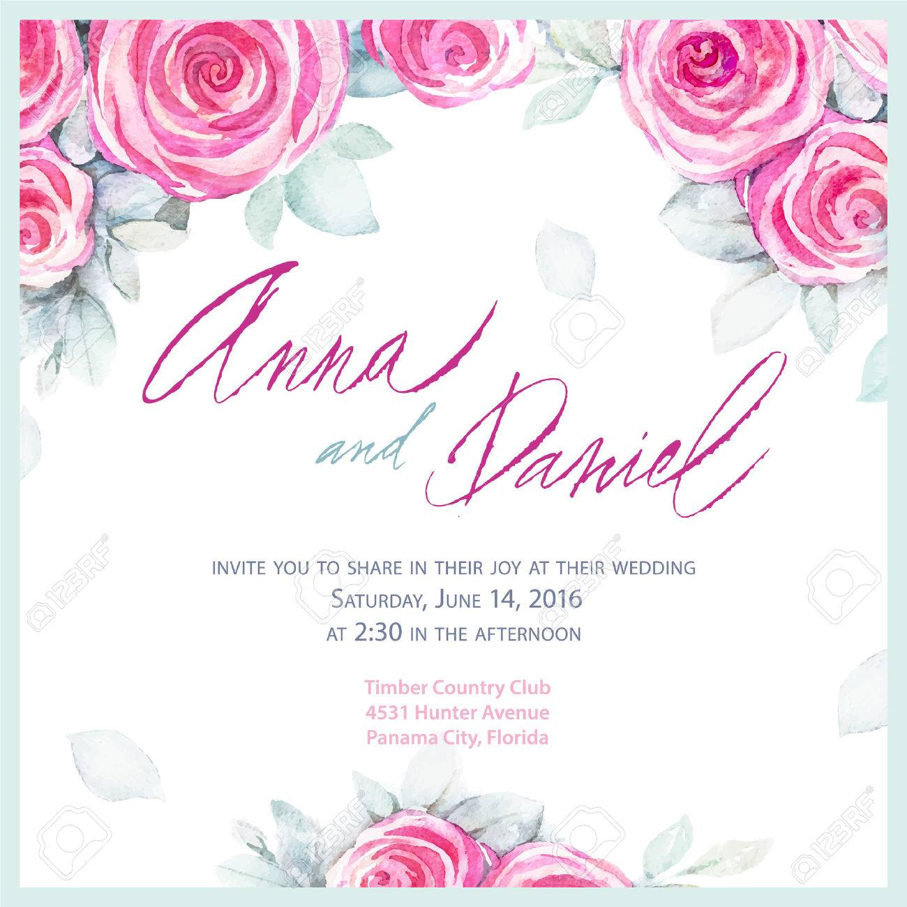 Invitation wedding design romantic greeting cards vector romantic greeting cards vector watercolor backround with roses stock vector m4hsunfo Gallery
