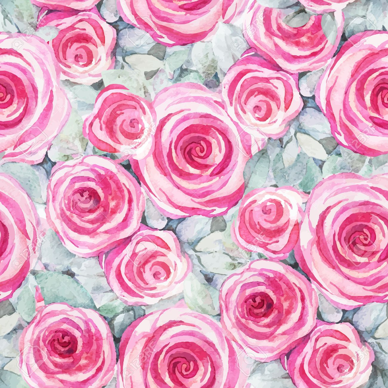 Seamless Pattern With Decorative Watercolor Roses Vintage Wallpaper Natural Ornament Hand Drawn Painting