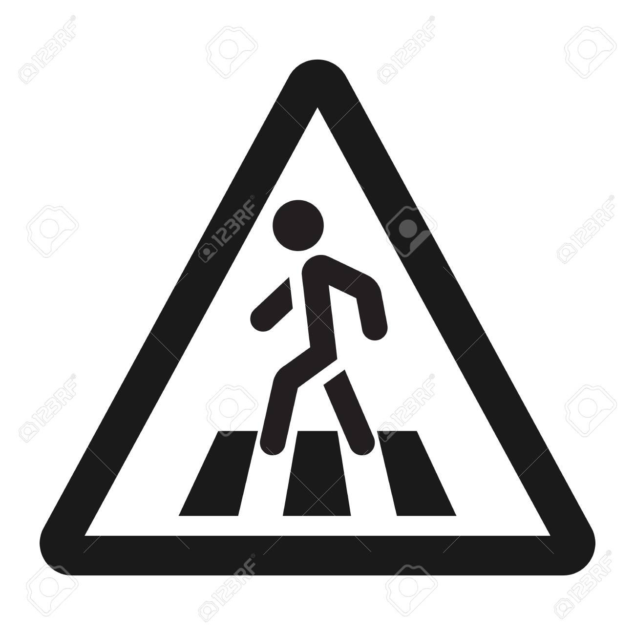 Pedestrian Crossing And Crosswalk Sign Line Icon Traffic Road Vector Graphics