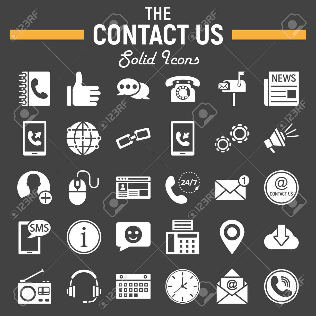 Contact Us Solid Icon Set Web Button Symbols Collection Mobile