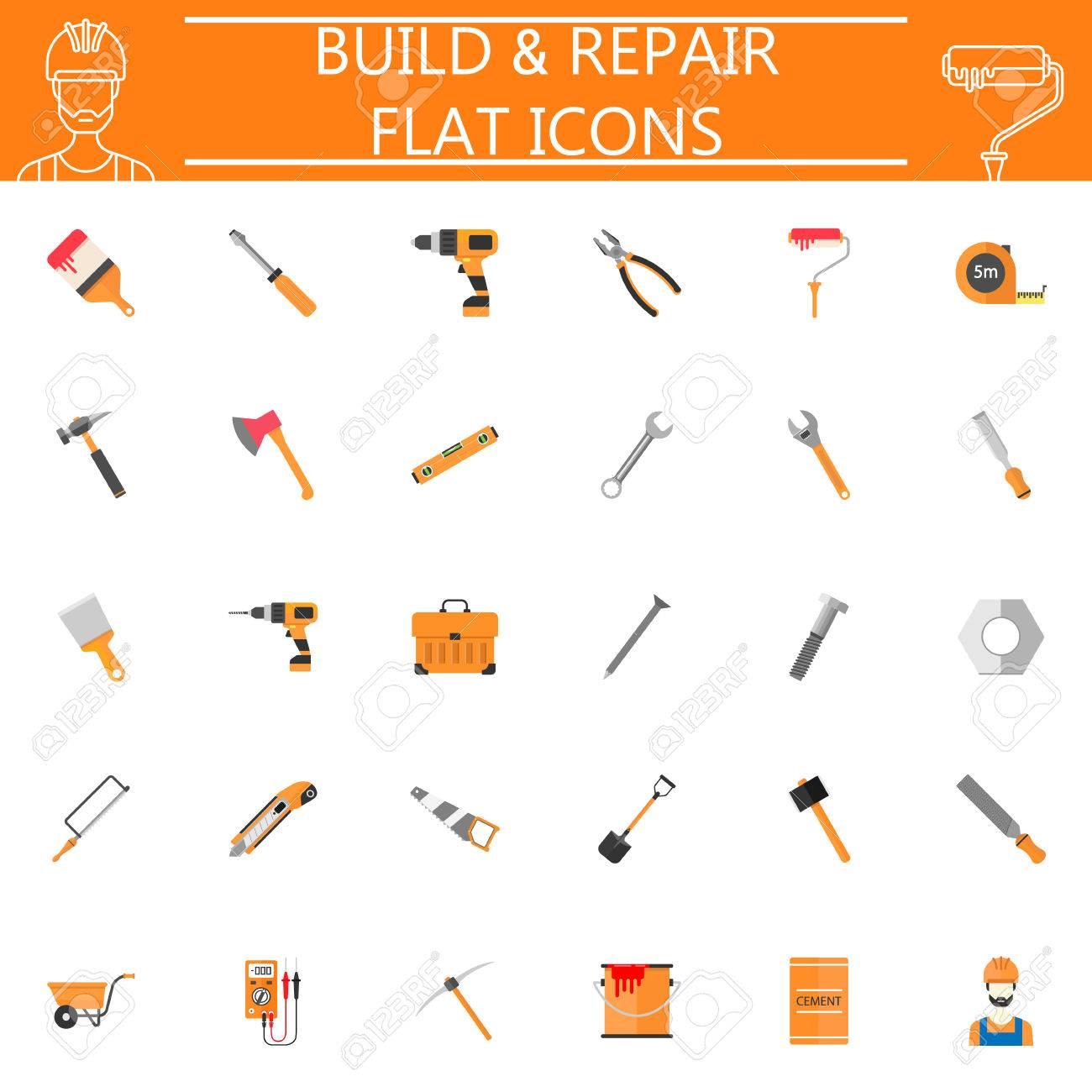 Build Repair Flat Pictograms Package Construction Symbols