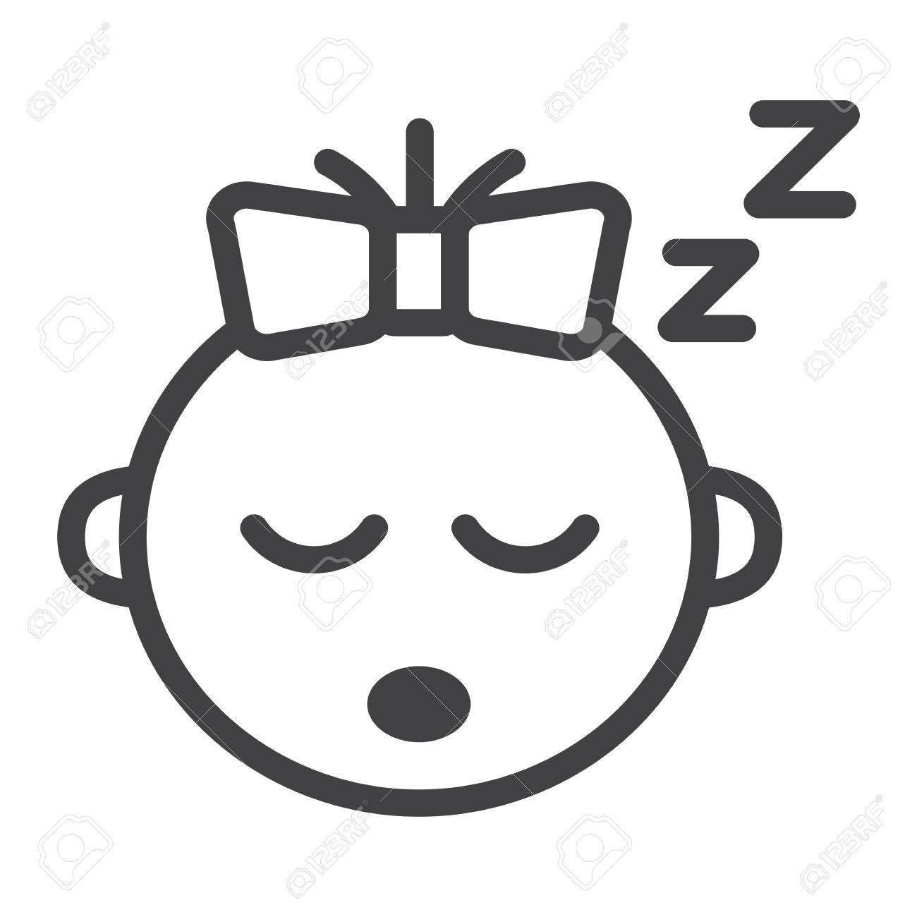Baby Girl Sleep Line Icon Child And Infant Vector Graphics