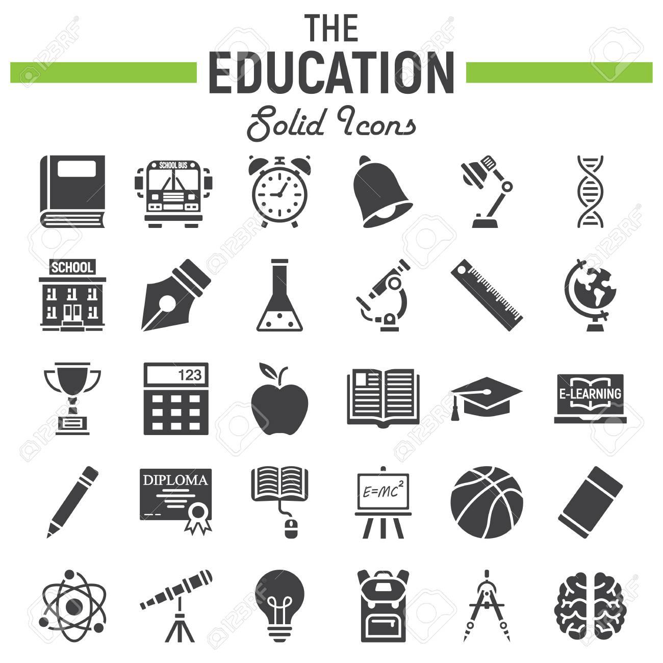 Education solid icon set school symbols collection knowledge education solid icon set school symbols collection knowledge vector sketches logo illustrations buycottarizona Image collections