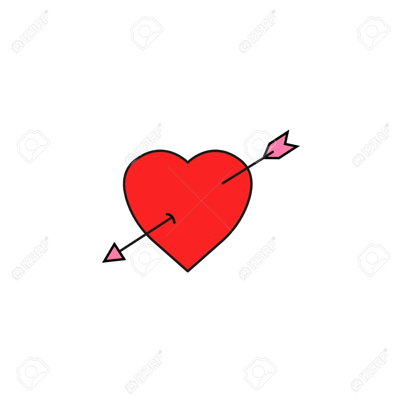 Heart With Arrow Solid Icon Love Sign Valentine S Day Love