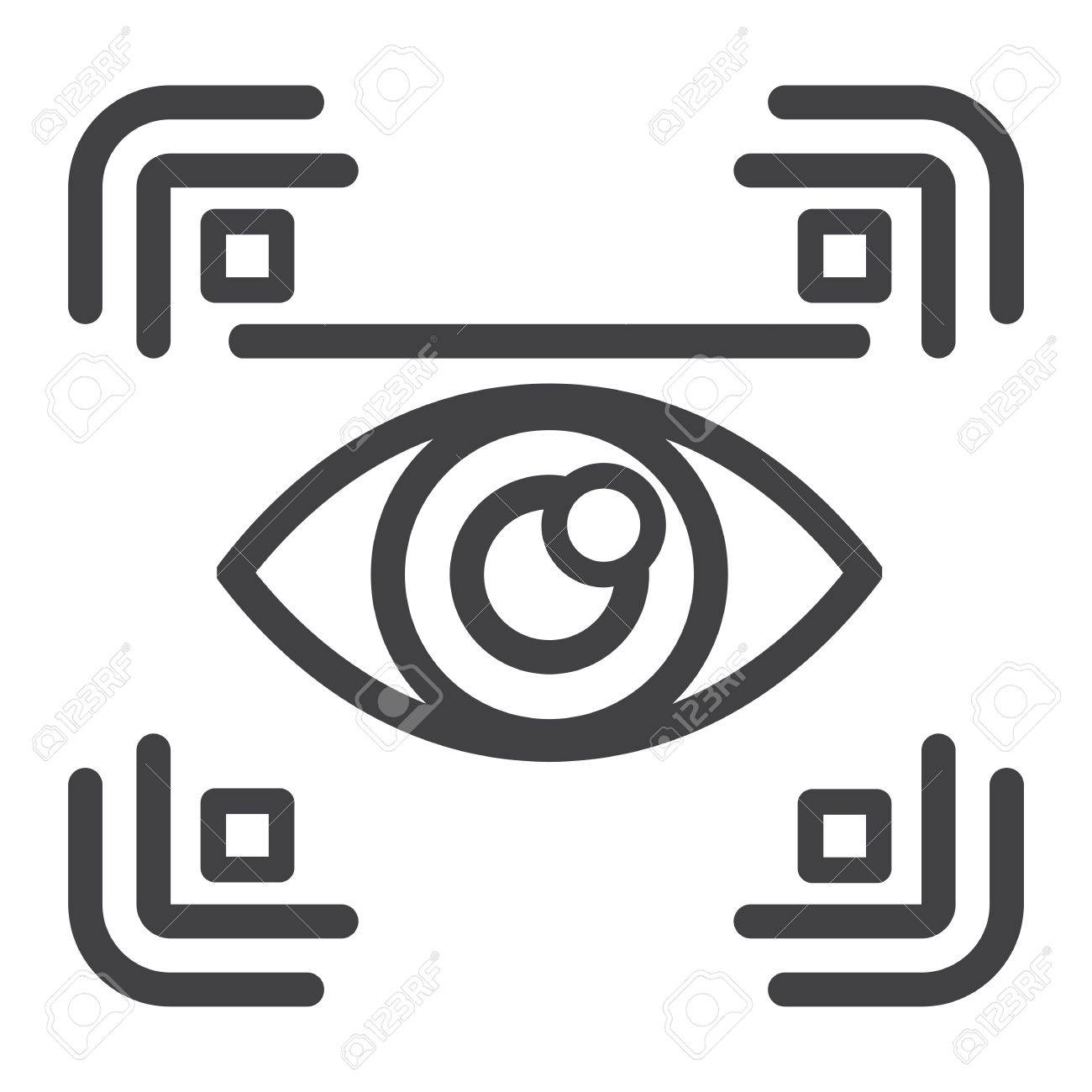 Eye scan line icon, security and iris scanner, vector graphics, a linear pattern on a white background, eps 10. - 80557242