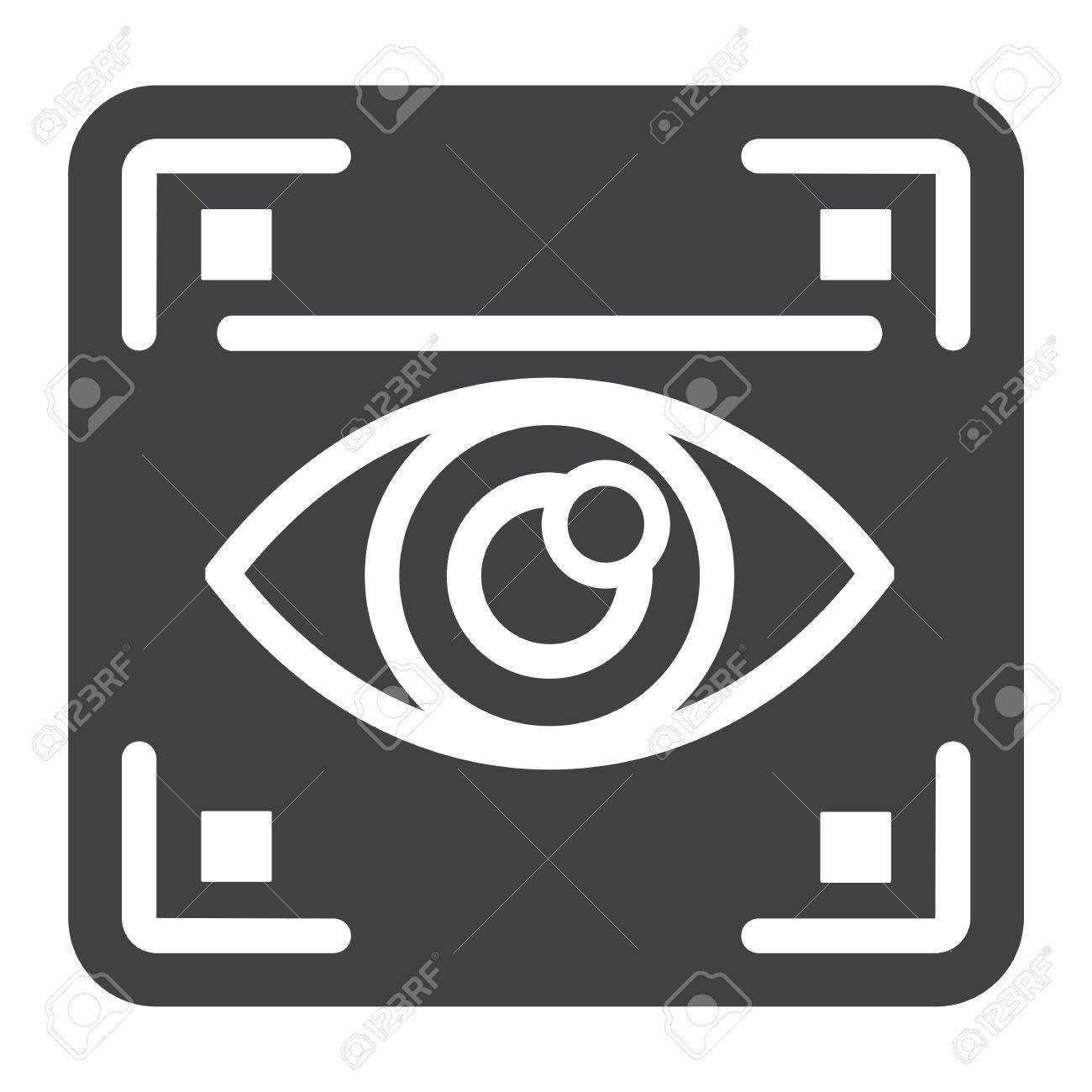Eye scan solid icon, security and iris scanner, vector graphics, a glyph pattern on a white background, eps 10. - 80557244