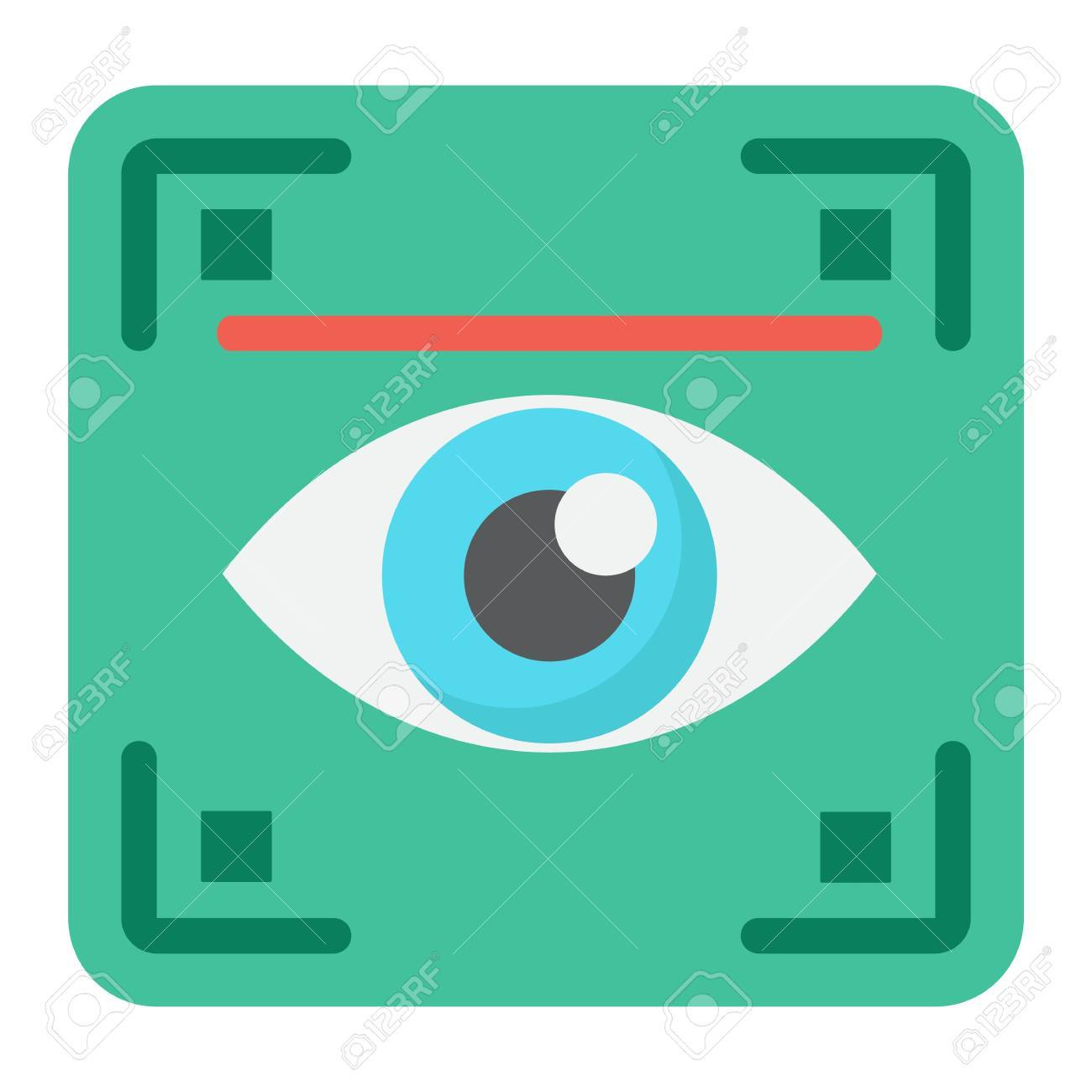 Eye scan flat icon, security and iris scanner, vector graphics, a colorful solid pattern on a white background, eps 10. - 80557245