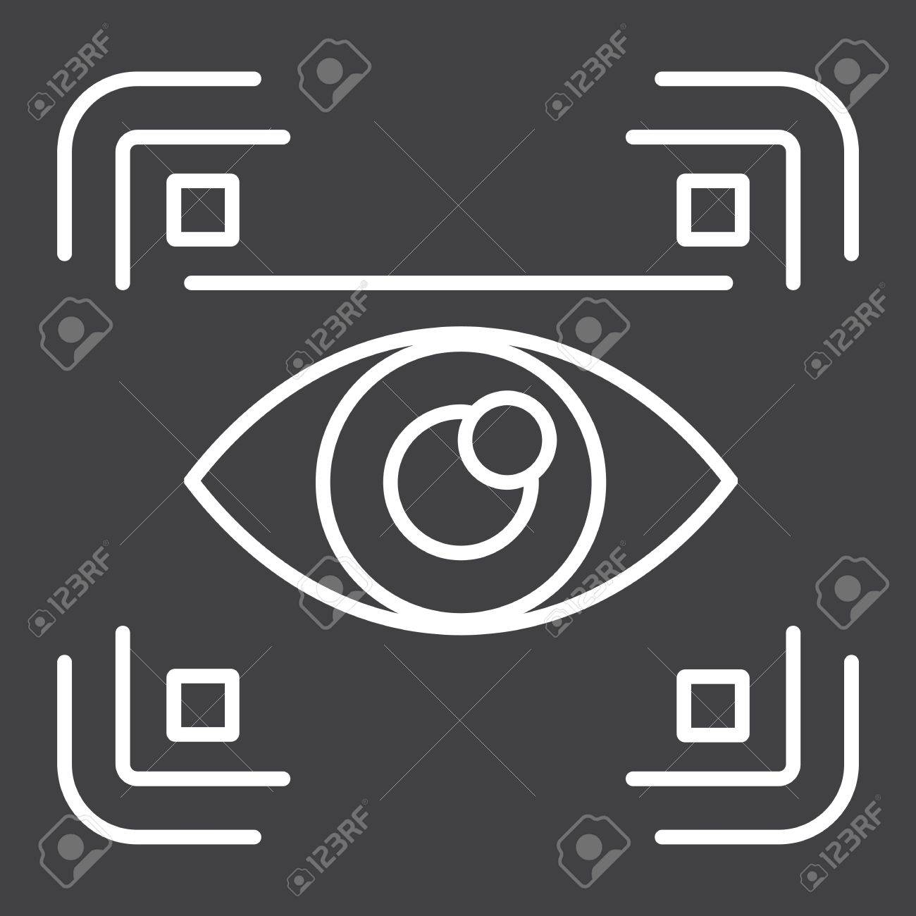 Eye scan line icon, security and iris scanner, vector graphics, a linear pattern on a black background, eps 10. - 80557249