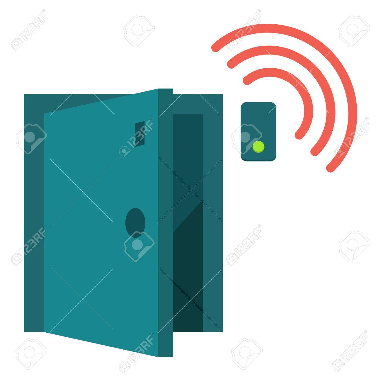 Door sensor flat icon, security and alarm, vector graphics, a