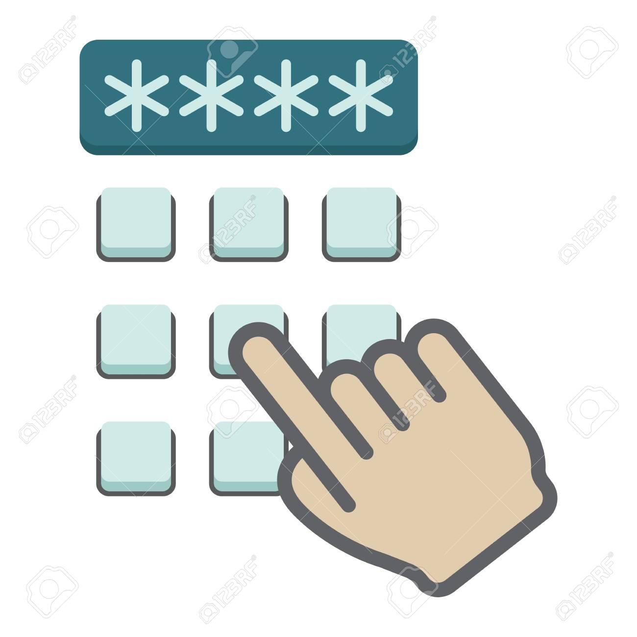 123Rf Password hand finger entering pin code flat icon, unlock and password