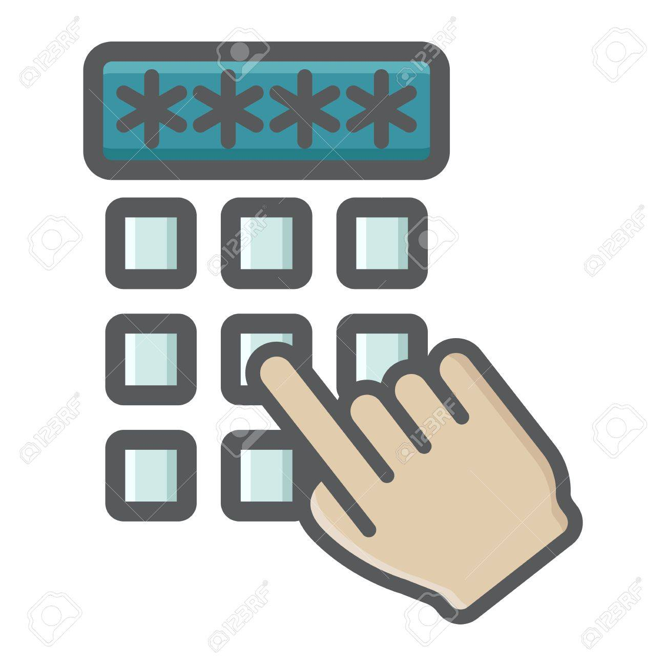 123Rf Password hand finger entering pin code colorful icon, unlock and password