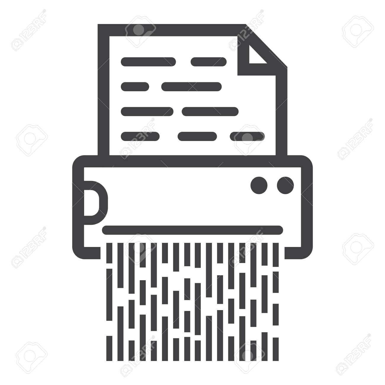 Document Shredder Line Icon, Destroy File And Confidential