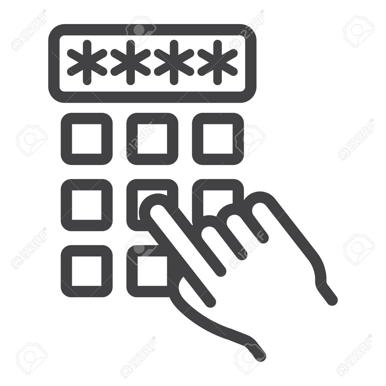 123Rf Password hand finger entering pin code line icon, unlock and password