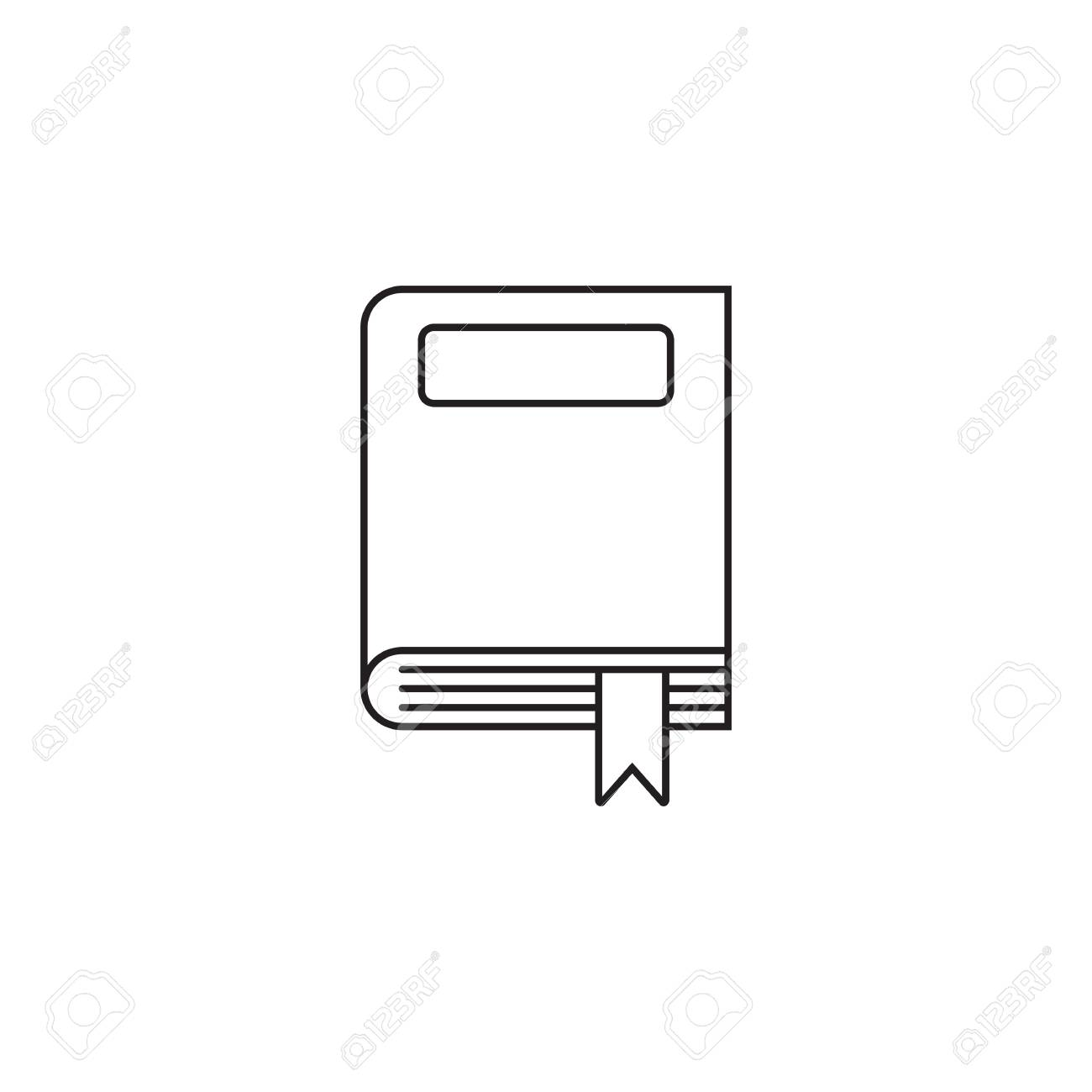 Closed book thin line icon, outline vector logo illustration,