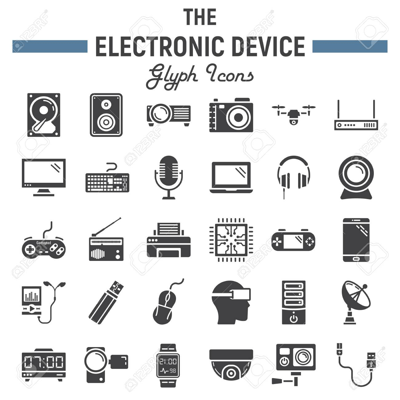 Electronic Device Solid Icon Set, Technology Symbols Collection ...