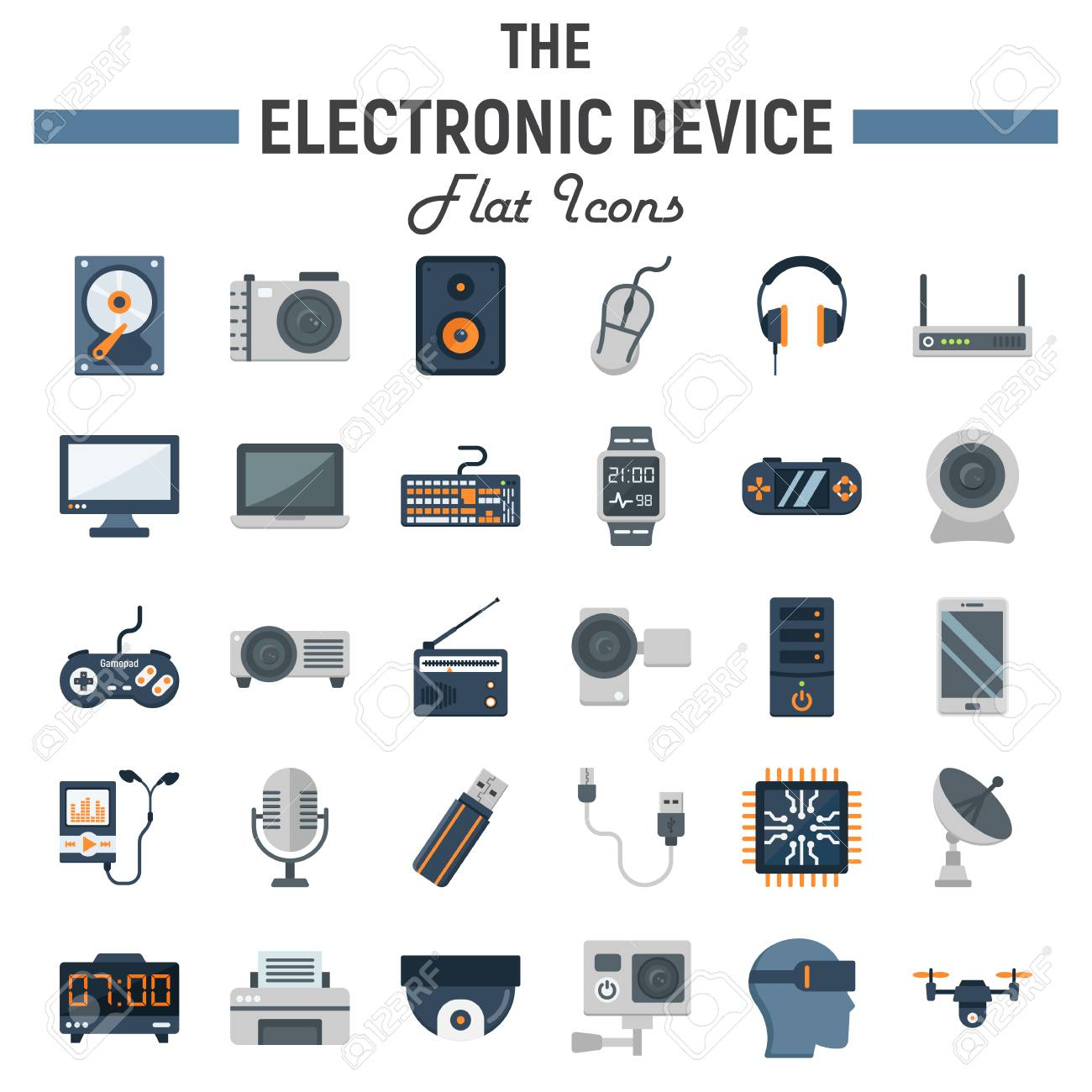 Electronic Device Flat Icon Set, Technology Symbols Collection ...