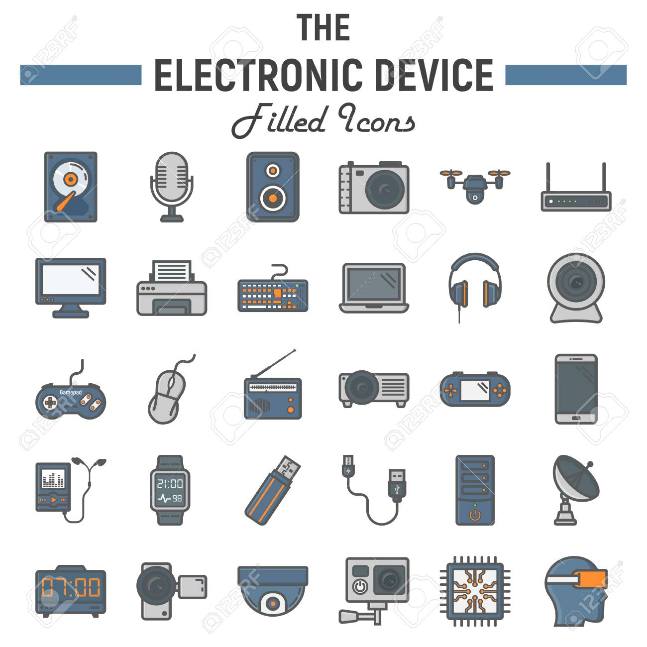 Electronic Device Colorful Line Icon Set, Technology Symbols ...