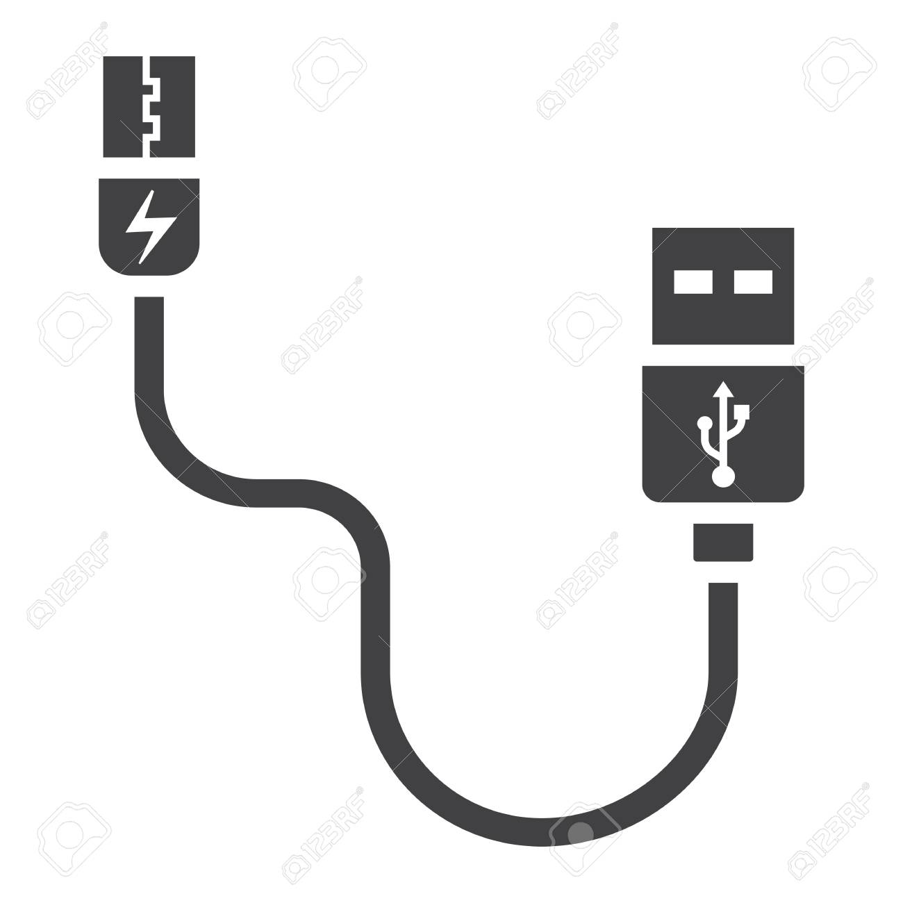 usb cable solid icon connector and charger vector graphics royalty free cliparts vectors and stock illustration image 81040071 usb cable solid icon connector and charger vector graphics